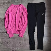 Nike Fashion Yoga Long Sleeve Sport Gym Shirt Pants Set Two-Piece Sportswear