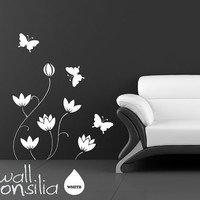 Flowers with Butterflies Wall Decal Floral Wall by WallConsilia