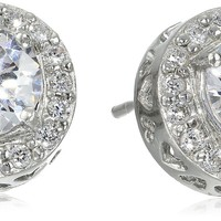 Sterling Silver Round Cubic Zirconia with Pave Border Stud Post Earrings (1.7 cttw)