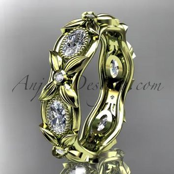 14kt yellow gold diamond leaf and vine wedding ring, engagement ring. ADLR152. Nature inspired jewelry