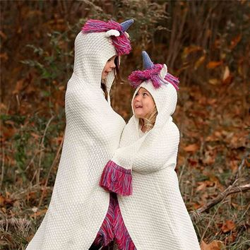 Unicorn Hooded Crochet Knit Throw Blankets