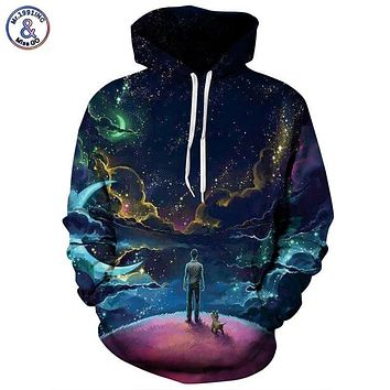Colorful Clouds Sky Hoodies 3d Sweatshirts Print Person and Dog Hoody Unisex