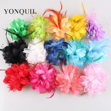 Lace Silk flower Feather Fascinator hair band Colors Headwear Hair Accessories Clip Brooch Wedding Hairpin 12PCS/LOT SYBB22