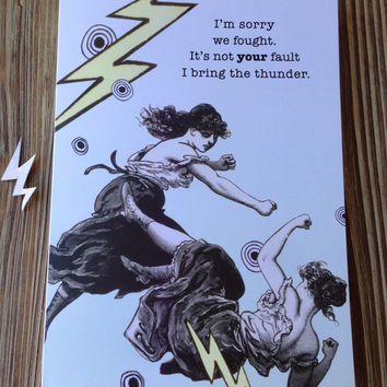 "Sorry we fought card. ""Bring the Thunder"" Apology Card"