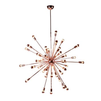 "Sputnik Style Chrome Hanging Chandelier 39"" Copper"