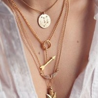US-Lady Women's Multilayer Irregular Crystal Gold Pendant Chain Statement Fashion Necklace