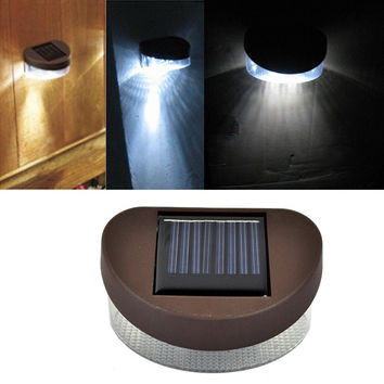New Outdoor Solar Powered 2 LED Wall Stairway Mount Garden Cool Fence Light Lamp