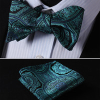 Blue, Green FLORAL 100% SILK BUTTERFLY TIE SELF TIE BOW TIE POCKET SQUARE BOW TI