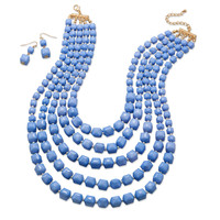 Graduated Multistrand Blue Bead Fashion Necklace and Earring Set