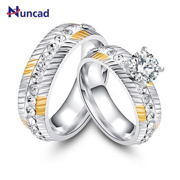 Nuncad Vintage Silver Color Ringen Wheel Side Rings Anelli Fashion Promise Jewelry For Lovers' Ring Set Couple Wedding Rings