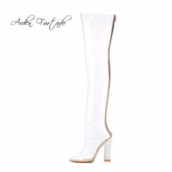 2017 summer autumn fashion pvc clear rainboots pointed toe crystal high heels over the knee boots transparent shoes for woman