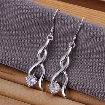 Twist Gem Silver Earring