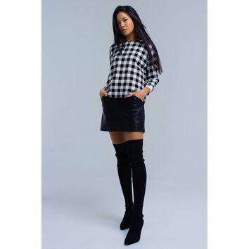 Black checked sweater with buttons