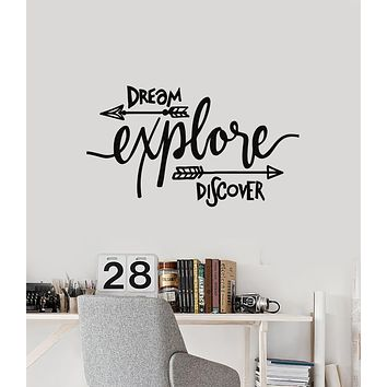 Vinyl Wall Decal Dream Explore Discover Travel Motivational Phrase Stickers Mural (g2521)