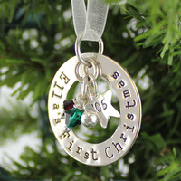 First Christmas Personalized Sterling Silver Ornament