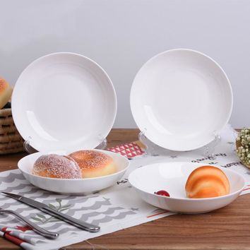 The white bone china tableware flat ceramic household meal tray dish soup dumplings concise disc plate
