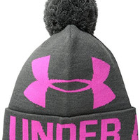 Under Armour Women's Graphic Pom Pom Beanie, Carbon Heather/Rebel Pink, One Size