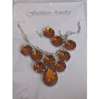 eBlueJay: Amber Topaz Rhinestone Cluster Jewelry Set Necklace Earrings Root Beer Brown Fashion Accessories