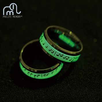 Prelife Memory Stainless Steel Luminous Ring Wedding Bands Piano Stave Creative Glow Men Women's Rings Vintage Jewelry
