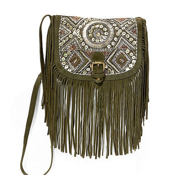 Big Buddha Beaded Fringe Cross-Body Bag | Dillards