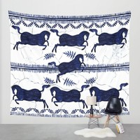 Ancient Greek Fresco - Navy Wall Tapestry by Perrin Le Feuvre | Society6