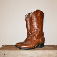 Vintage 70' Cowboy Boots Acme Cowboy Boots Pointed Toes Camel Dark Brown Country Western Boots Urban Cowboy Size 8.5