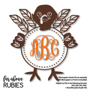 Turkey Feather Monogram Wreath Frame (monogram NOT included) - SVG, DXF, png, jpg digital cut file for Silhouette or Cricut