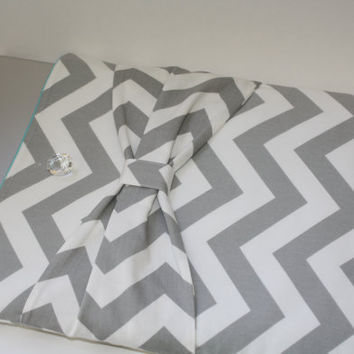 MacBook Pro Sleeve / Case - Gray & White Chevron with Bow - Double Padded