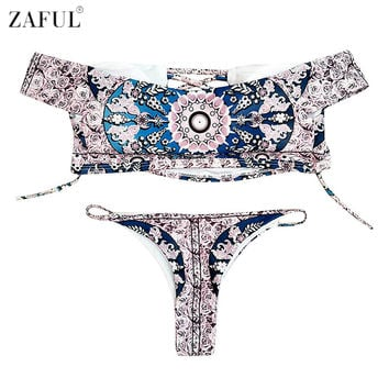ZAFUL  Women Off The Shoulder Swimwear Rose Print Lace-up Bikini Set Summer Sexy Swimsuit Bathing Suits Maillot De Bain