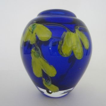 Murano Glass Deep Blue Blown Vase Infused Yellow Flowers