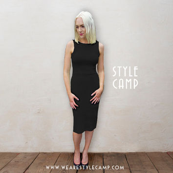 Marilyn Bodycon Pencil Dress with Scoop Back in Black