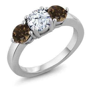 2.12 Ct White Created Sapphire Brown Smoky Quartz 925 Sterling Silver Ring