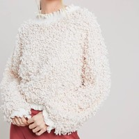 textured mock neck pullover with ruffle hem - natural