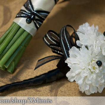 White Anemone Boutonniere Silk Flower Wedding Boutonniere