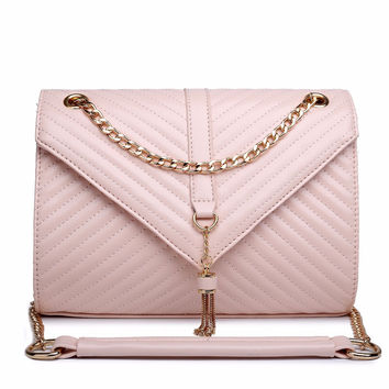 Ladies Plain Zip Gold Chain Cover Quilted Messenger