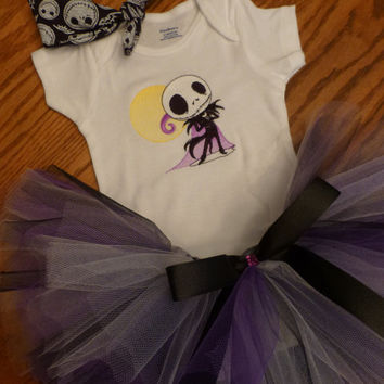 Baby Tutu, Onesuit & Headband 3 pc Outfit READY To SHiP! Adorable BaBY Shower GiFT Photo Prop Jack Skellington HALLOWeeN Baby Costume Outfit