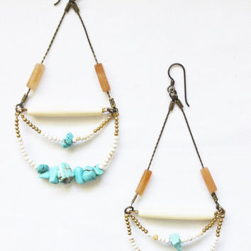 Turquoise earrings, dangle, loops, statement, boho, summer, shell, bone and agate. Hypoallergenic wires.