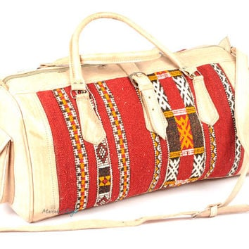 Kilim Leather Duffel Bag, Moroccan leather travel bag