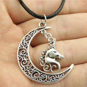 Moon and Unicorn Leather Chain Necklace, fashion Women Jewelry Necklace-0406