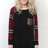 Add Some Sparkle w/ Plaid Sleeves Top {Black Mix}
