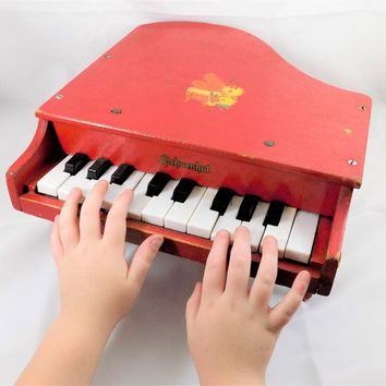 Schoenhut Toy Piano, Red Painted Wood, Small Grand, Doll Piano, Vintage Toys