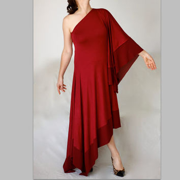 Burgundy Red Grecian Maxy Dress One Shoulder Wedding Bridesmaid Asymmetric Dress Made to Measure Dress Party Cocktail Evening Gown Oversize