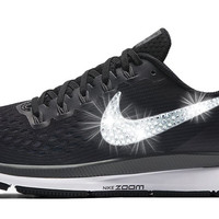SALE - Nike Air Zoom Pegasus 34 + Crystals - Black/White - Size M10=W11