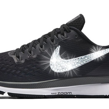 Nike Air Zoom Pegasus 34 + Custom Swarovski Crystal Swoosh - Black/White