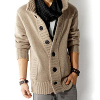 2016 New Desgin Fashion Big Lapel Single-Breasted Men's Sweater Real Wool Cotton Men's Sweater Men's Coat Wool Coat Cardigan Man