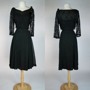 1950's black dress silk chiffon gown w black lace overlay long sleeves and velvet rhinestone applique mid calf length plus size XL dress 12