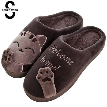 Senza Fretta Winter Men Slippers Cartoon Cat Couple Cotton Men Slippers Indoor Soft Thick Bottom Warm Slippers Couple Plus Size