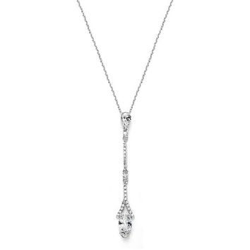The Monaco, A Delicate AAAA Cubic Zirconia Linear Wedding or Bridesmaids Necklace