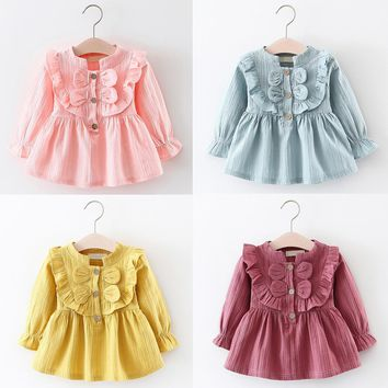 Infant Bow Front Long Sleeve Dress