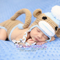 Having a sale Boy sock monkey hat and diaper cover by cherryscan